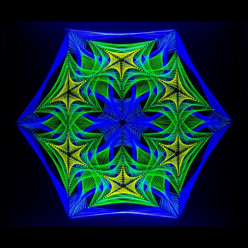 "Blacklight Mandala Glowing String Art ""Cosmic Flower"""