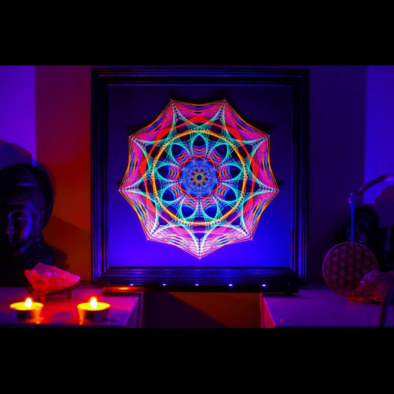 "Fluorescent Blacklight String Art  ""Petals of Life"""