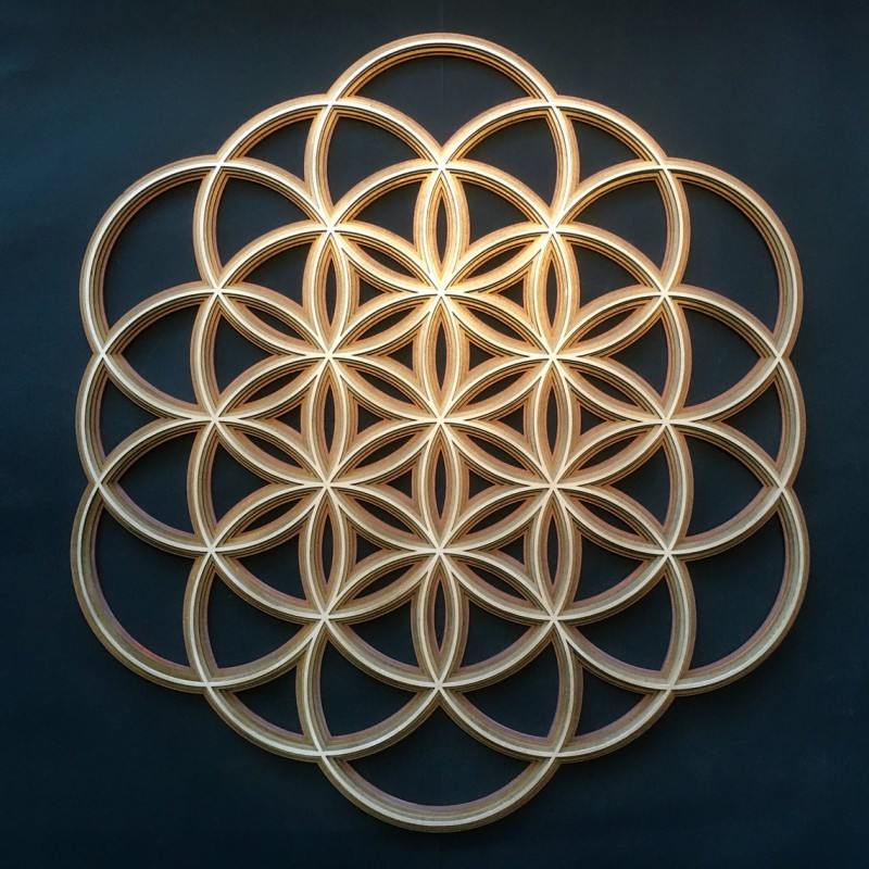 "Lasercut Artwork Yoga Wall Art Mandala ""Seed of Life"" 4 layers"