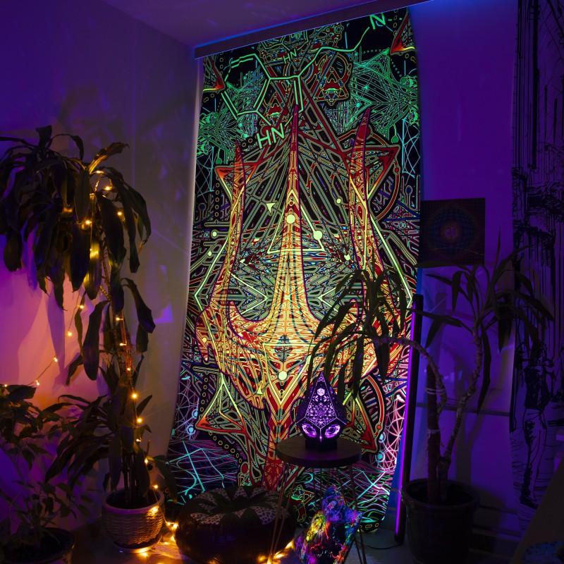 Esoteric glowing curtain «Trishula power»