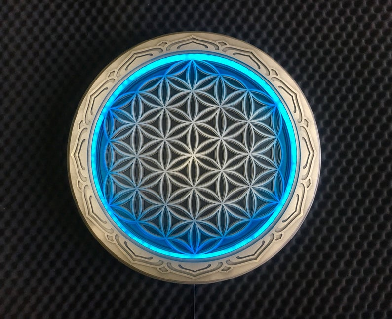 """Boho Wooden Lamp Sacred Geometry """"Flower of Life"""", 4 layers"""