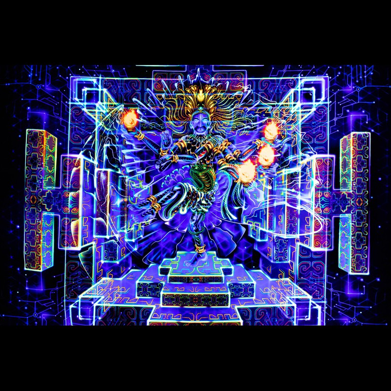 Visionary Psychedelic Tapestry, Spiritual Painting «Shiva Dance»