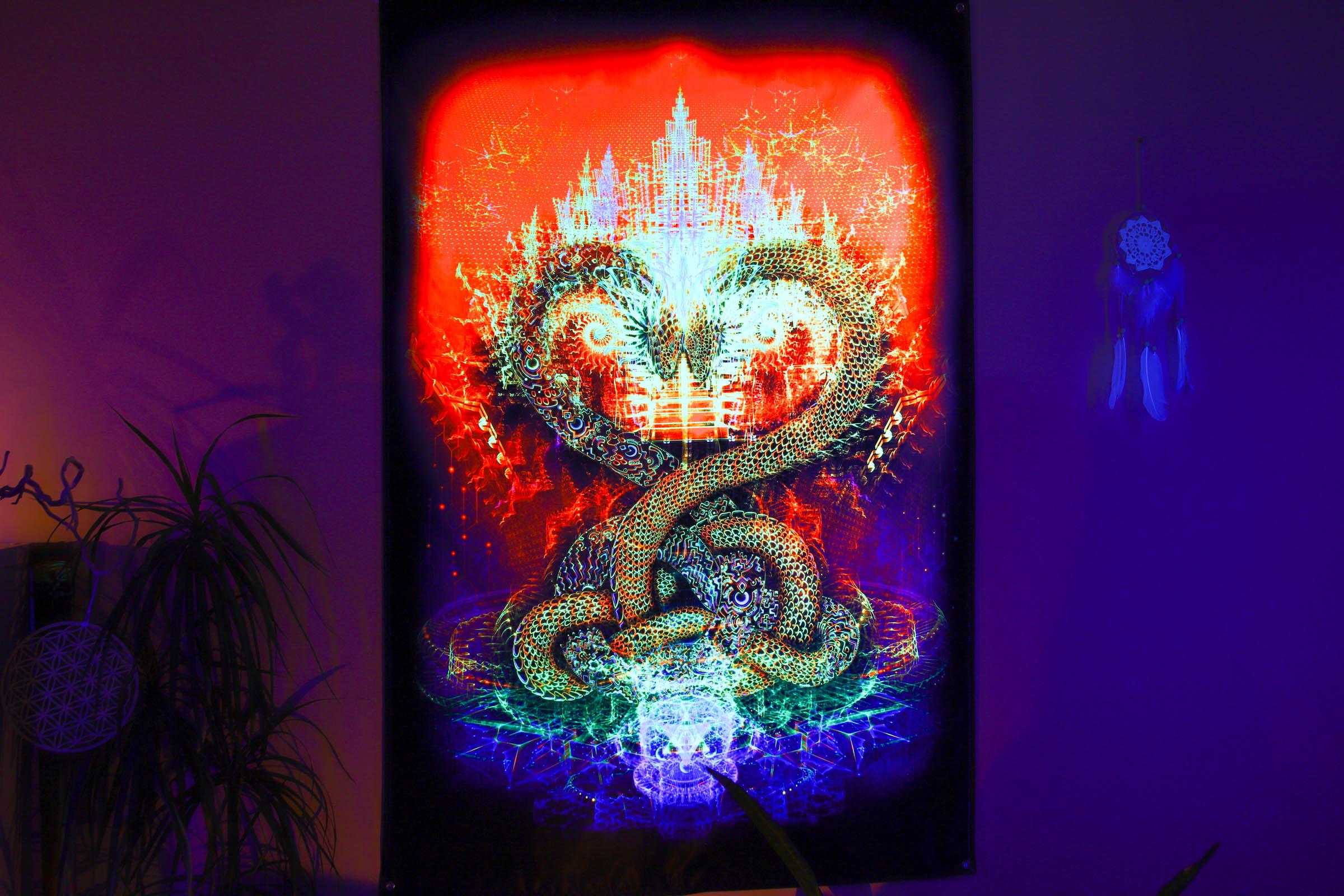 Trippy UV psychedelic backdrop «Kundalini Awakening»