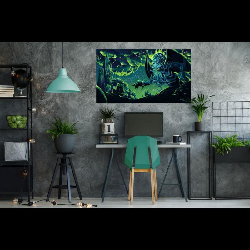 Psychedelic trippy tapestry UV «Cthulhu»