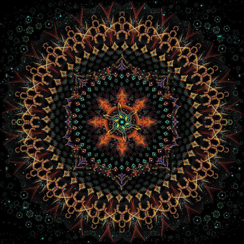 Psychedelic trippy mandala backdrop «Fractal Circle»