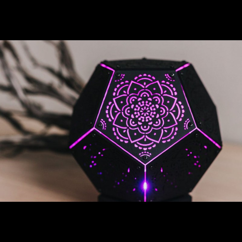 "Psychedelic Lamp of Sacred Geometry ""Mandala Black Power"" night light"