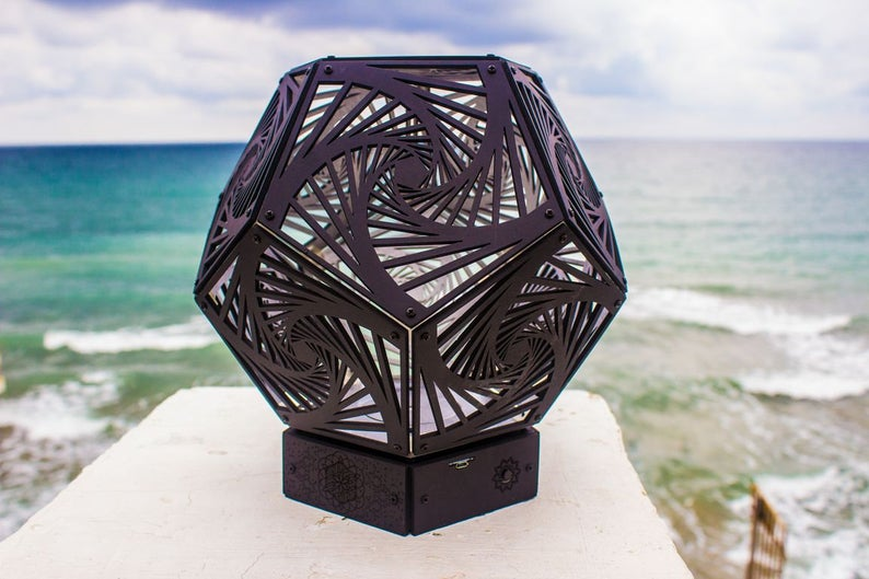 "Bedside Wooden 3d Boho-Lamp ""Spiral Black"" Geometric Light"