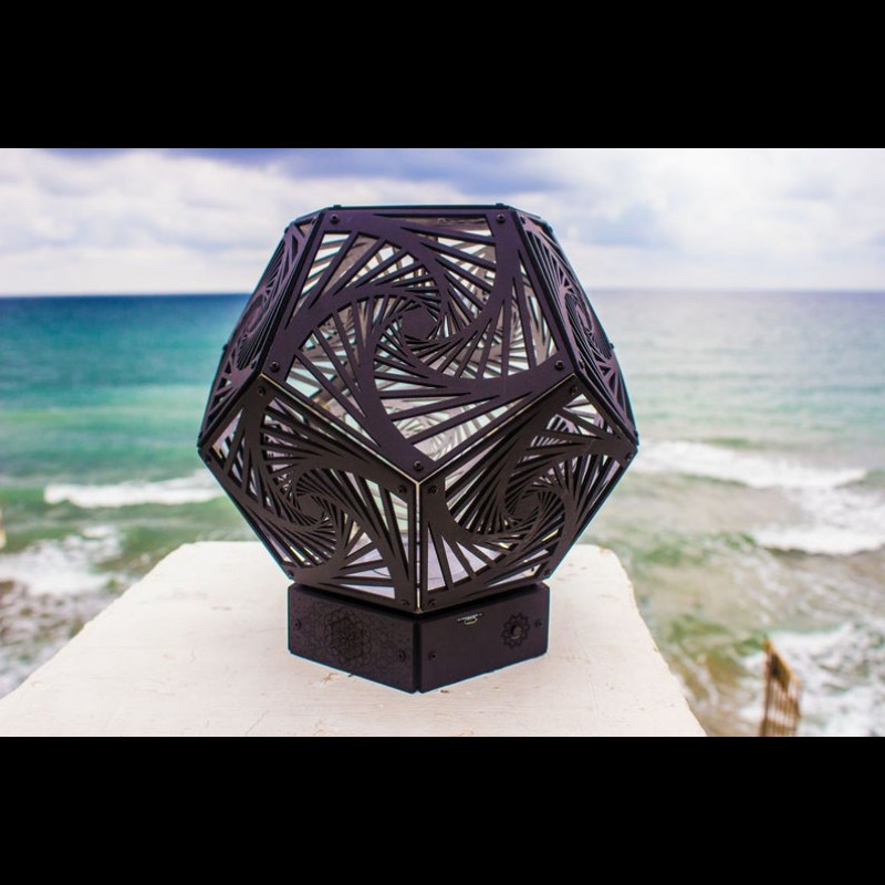 "Bedside Wooden 3d Boho-Lamp ""Spiral Black"" Geometric Light"