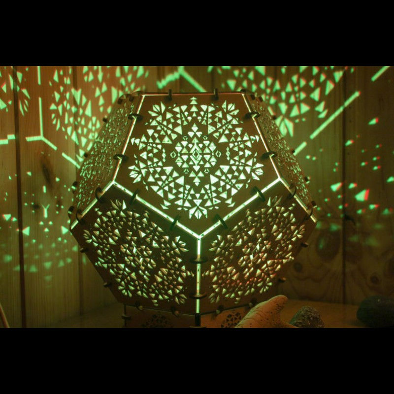 "Bohemian Wood Lighting Decorative Lamp  ""Power of Spirits Cube"""