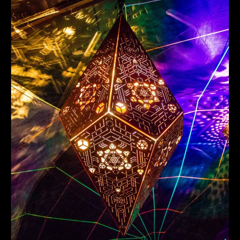 "Wooden Lamp ""Metatron flying Cristal"" sacred geometry light decor"