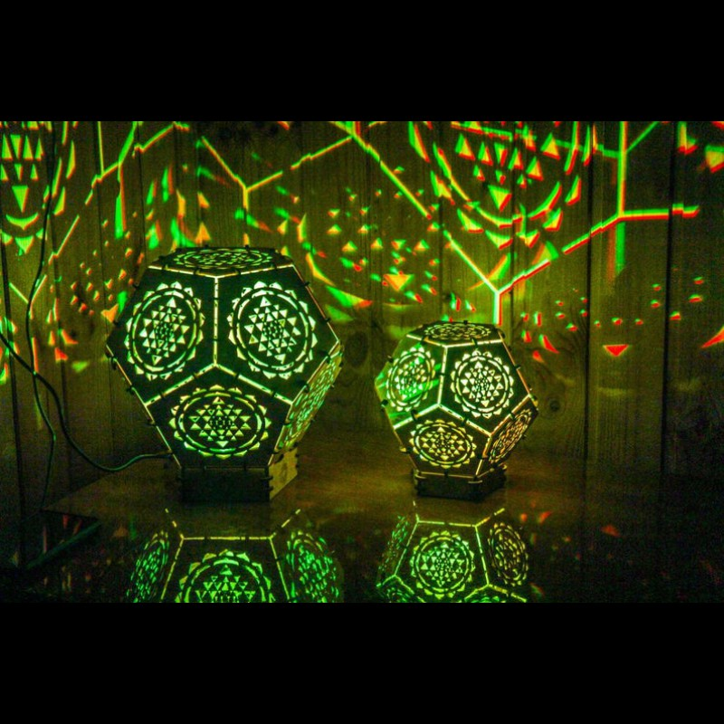 "Wooden 3D LED lamp ""Sri Yantra"" night light"