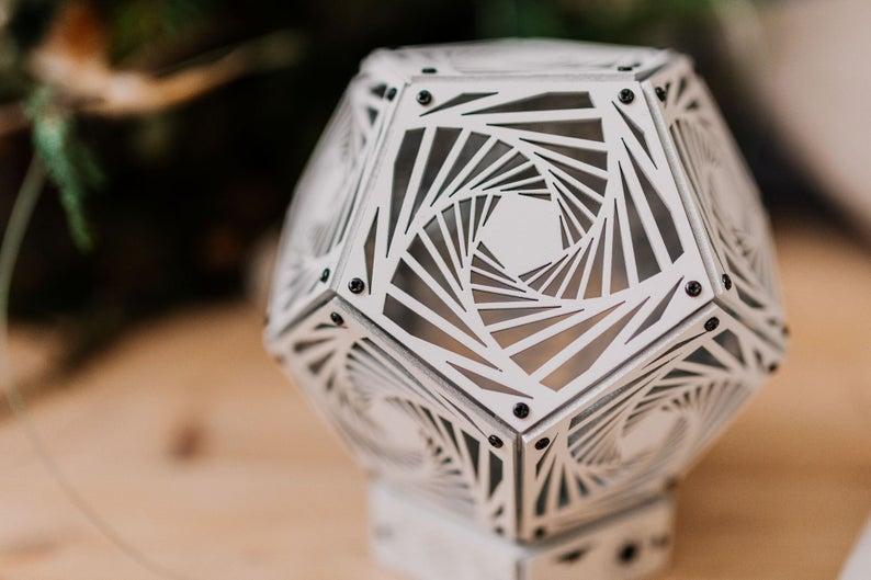"Sacred Geometry room deco ""Spiral White"" wood night light"