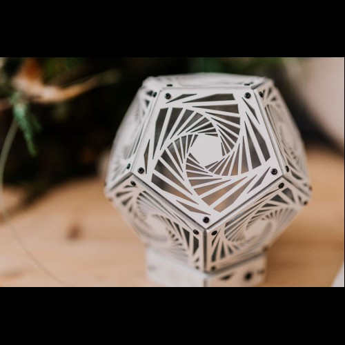 "Sacred Geometry room deco ""Spiral White"" wood night light"
