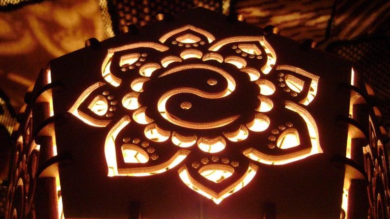 "Wooden deco lamp ""Yin-Yan"" night light"