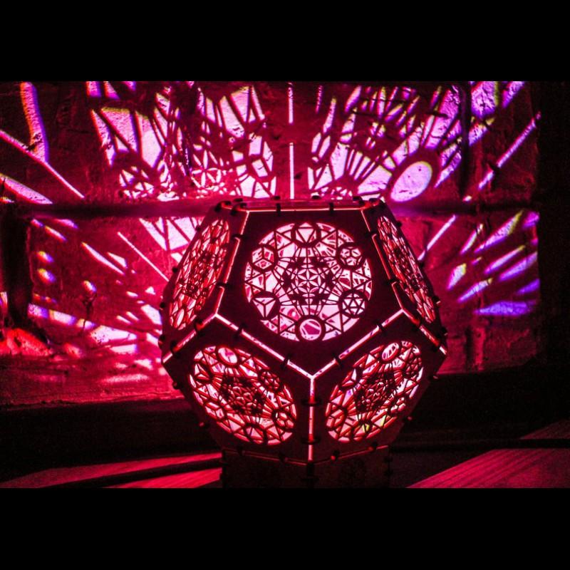 "Bohemian psychedelic LED lamp ""Metatron Cube"" night light"