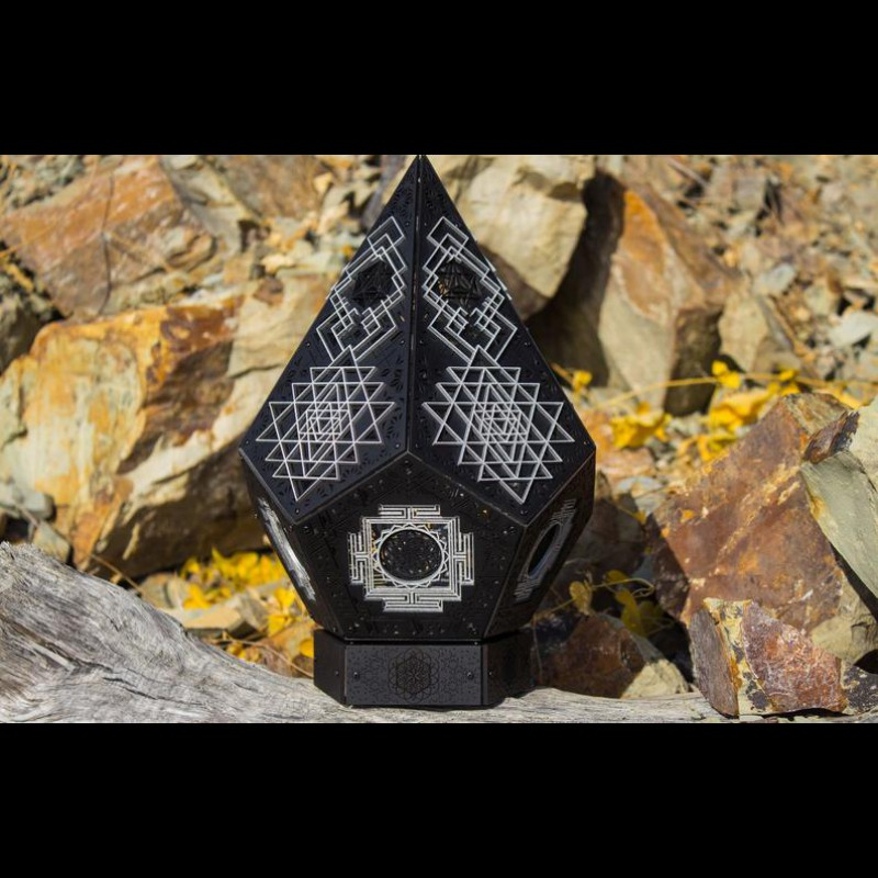 Sacred Geometry Mandala Wood Lamp «Crystal Yantra» Black Edition