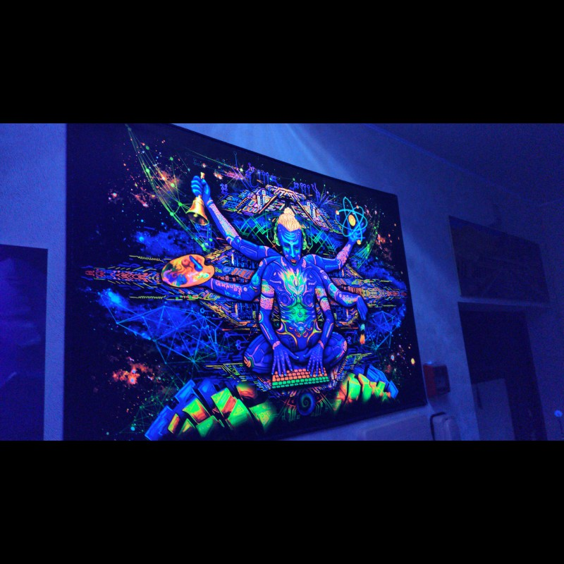 Psychedelic blacklight  tapestry «Creator of the Universe»