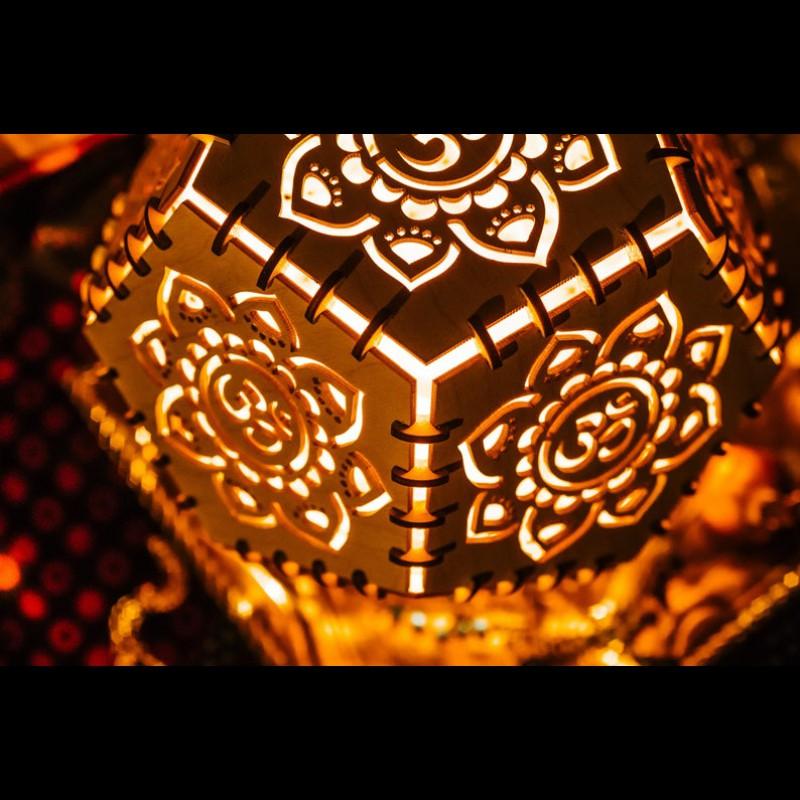 "Sacred geometry shadow lamp ""Aum"" night light"