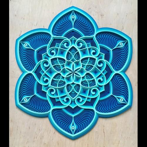 """Bohemian Wall Deco Mandala """"Ocean Waves"""" 6 layers"""
