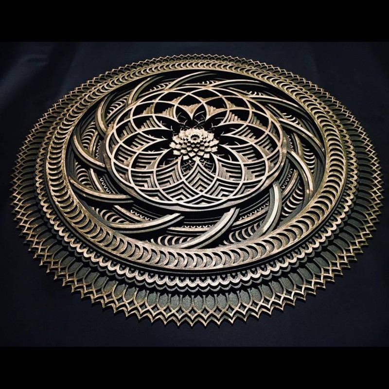 "Spiritual Wall Art Mandala Room Deco ""Lotos"" 8 layers"