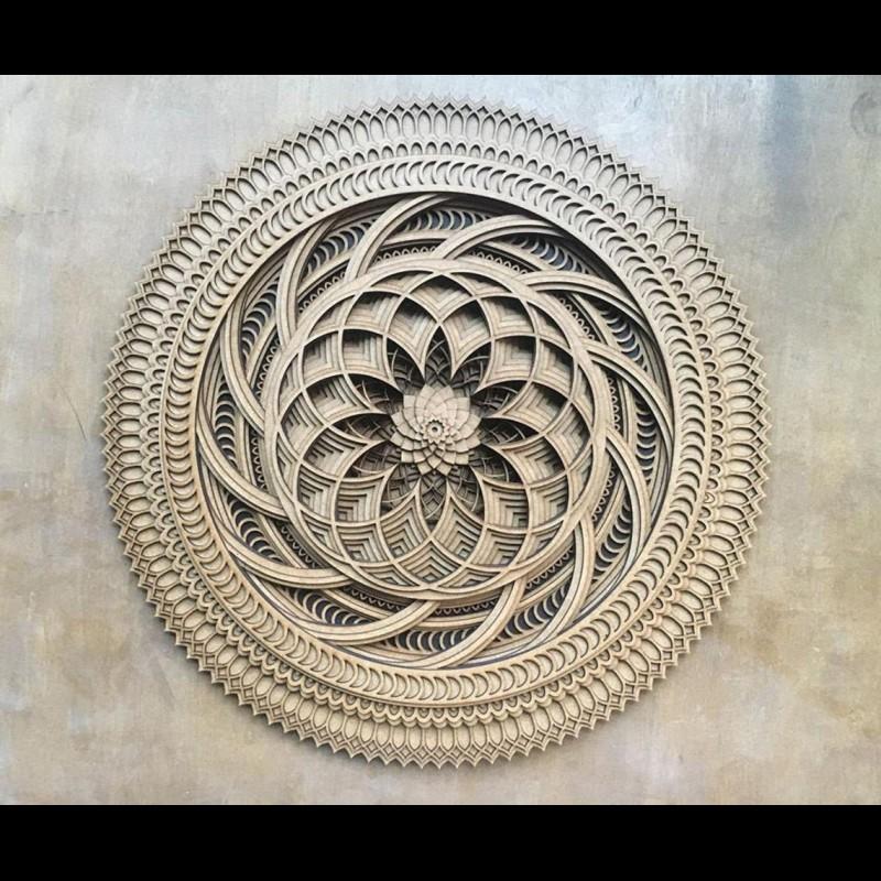 "Spiritual Wall Art Mandala Room Deco ""Lotos"" 8 layers"