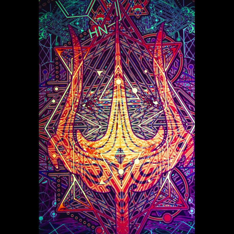Trippy Abstract Blacklight Active Carpet «Trishula»