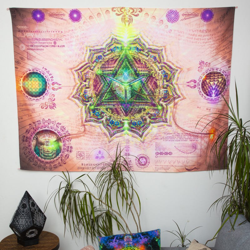 Fluorescent canvas «Universal Transmissions - Energy Vortexes 4 Anahata Chakra»