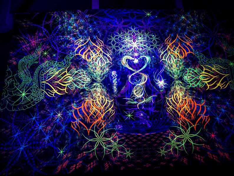 Psychedelic UV Reactive Wall Hanging «Revelation»