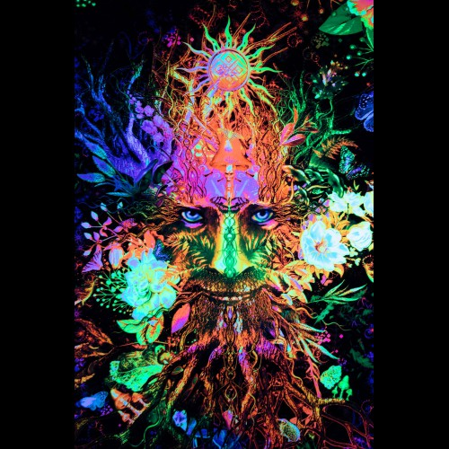Blacklight Active Psytrance Backdrop «Forest Spirit»