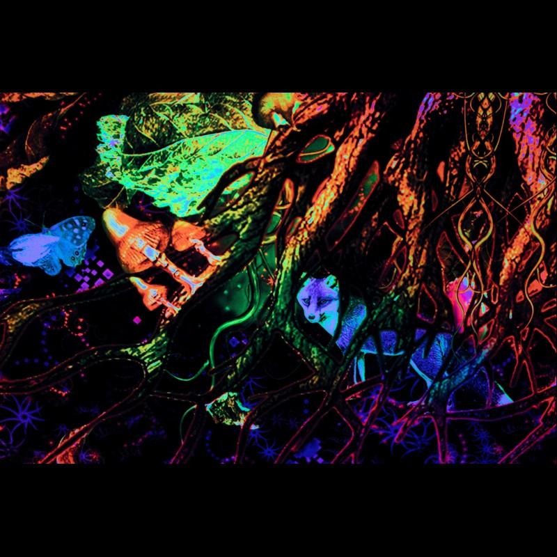 Blacklight Active Psytrance Backdrop «Forest Spirit»