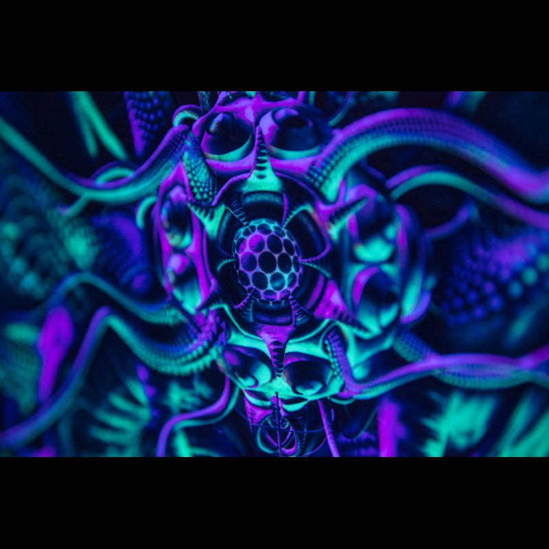 Psychedelic fluorescent boho wall hanging «Octopocephalus»