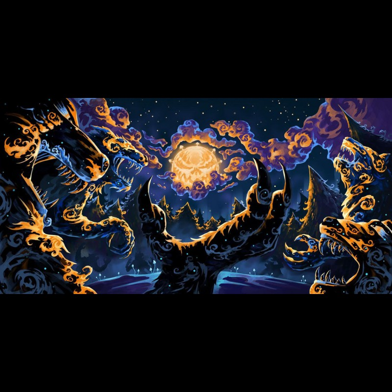 "UV blacklight fractal trippy backdrop ""Magic Mushroom Werewolves"""