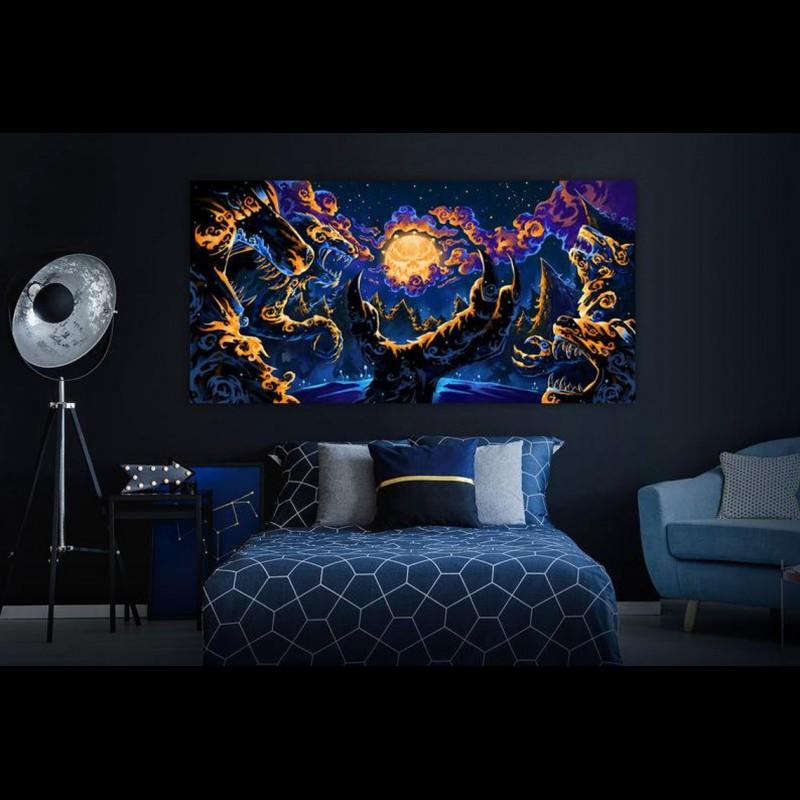 """UV blacklight fractal trippy backdrop """"Magic Mushroom Werewolves"""""""
