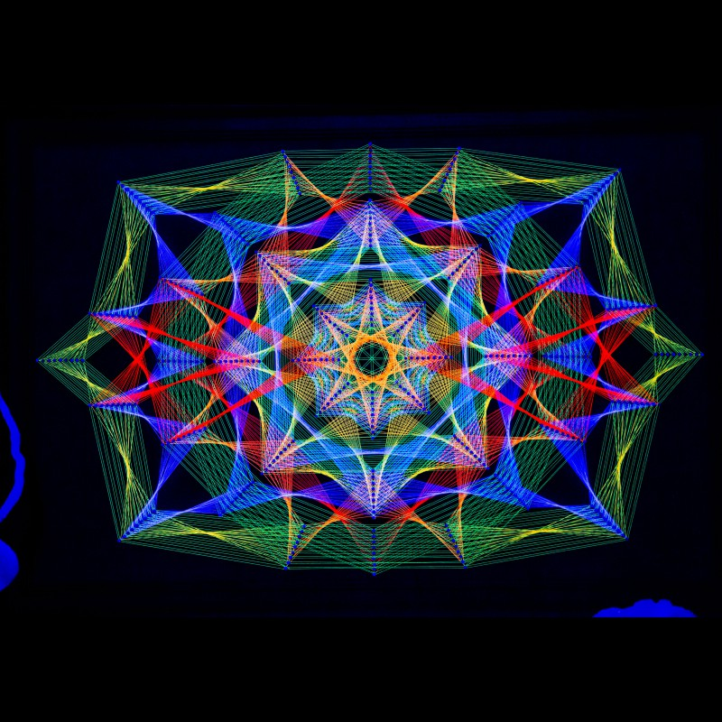 "Trippy Wall Deco Blacklight Mandala ""Unique Harmony"""