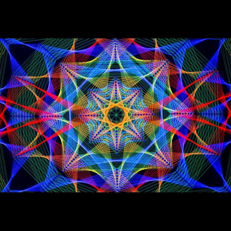 "Trippy Wall Deco Blacklight Mandala ""Unique Harmony"""