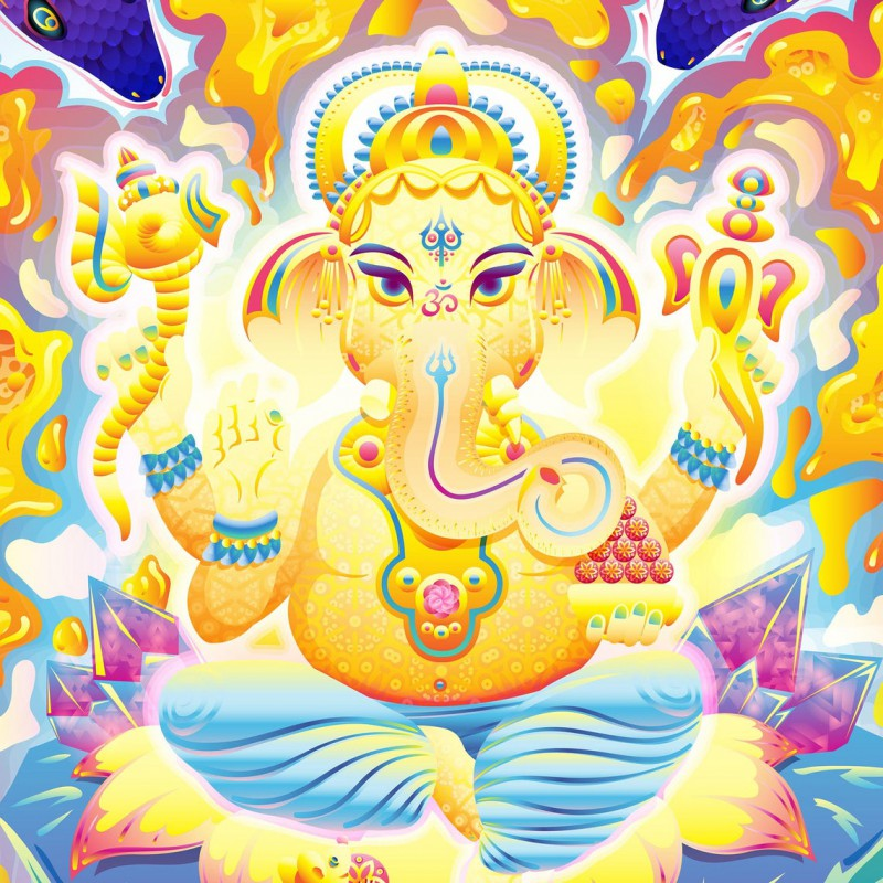 "Meditation blacklight UV-tapestry ""Lord Ganesh and Electric Eels"""