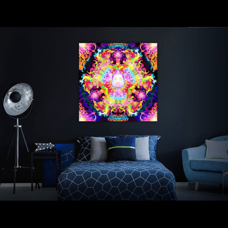 "Tripvision spiritual UV-active art  ""Wrathful Buddha Mandala"""