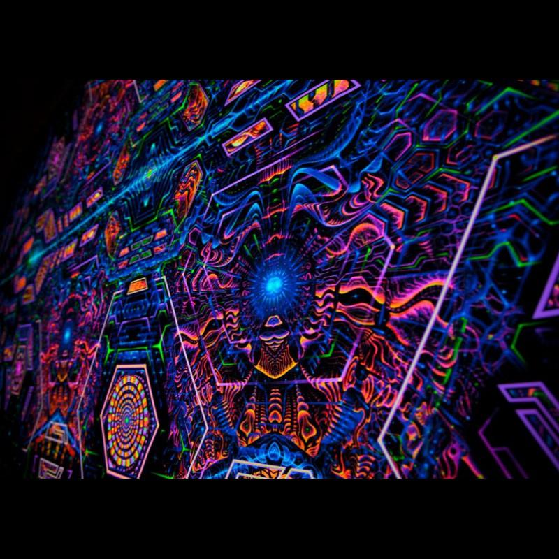 DMT Trippy Spiritual Tapestry «Exo Molecular Mind»