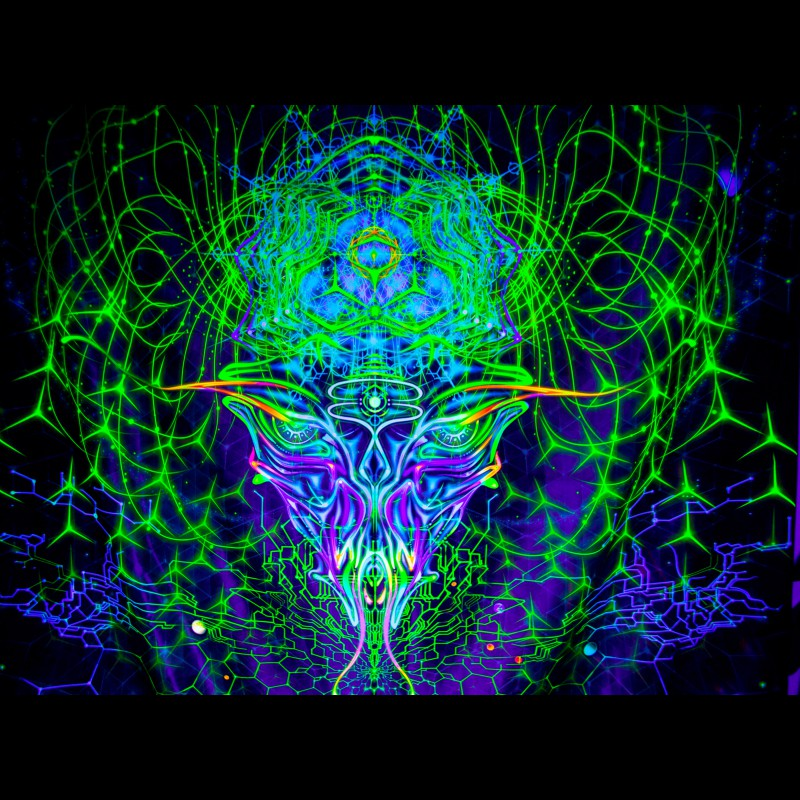 "Trippy mushroom UV-backdrop ""Alien Mind"""