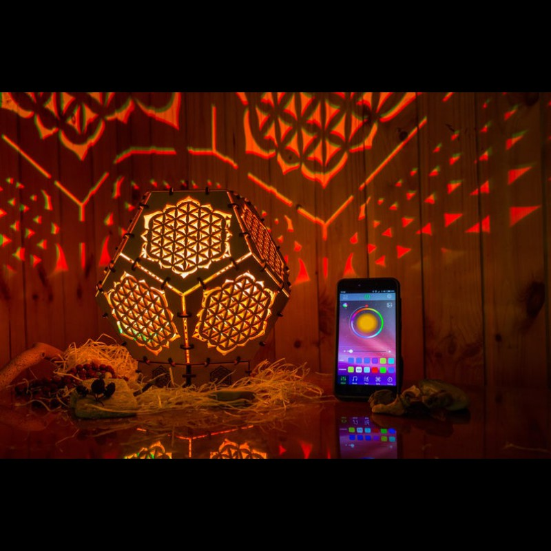 "Bohemian wooden LED lamp ""Flower of Life"" night light"