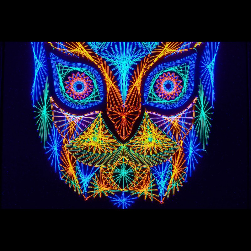 """Psychedelic Wall Neon String Art  """"Forest Guardian"""""""