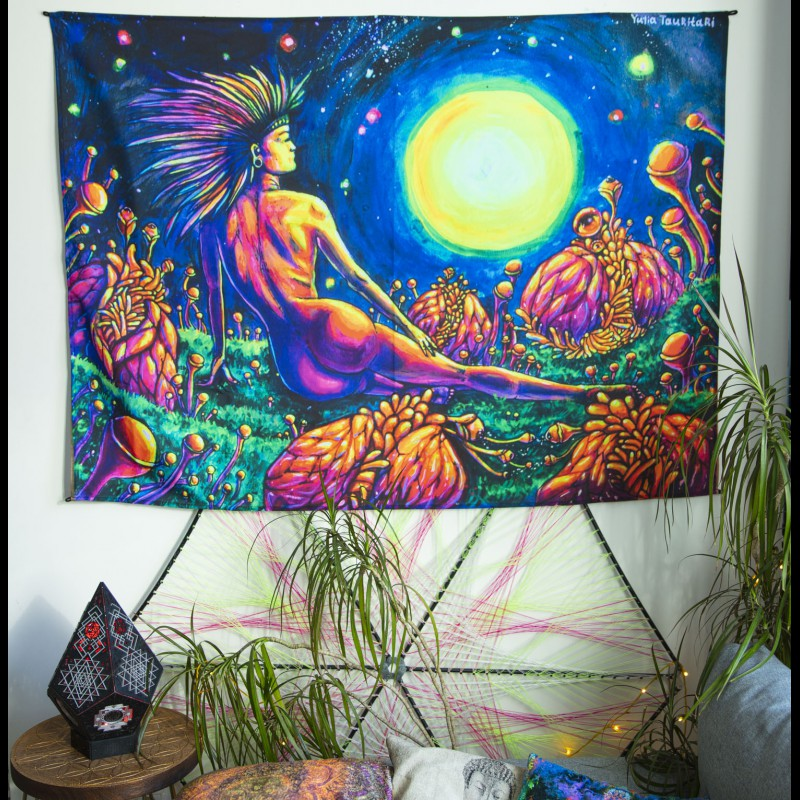 Trance Backdrop Mushroom Tapestry «Space between worlds»
