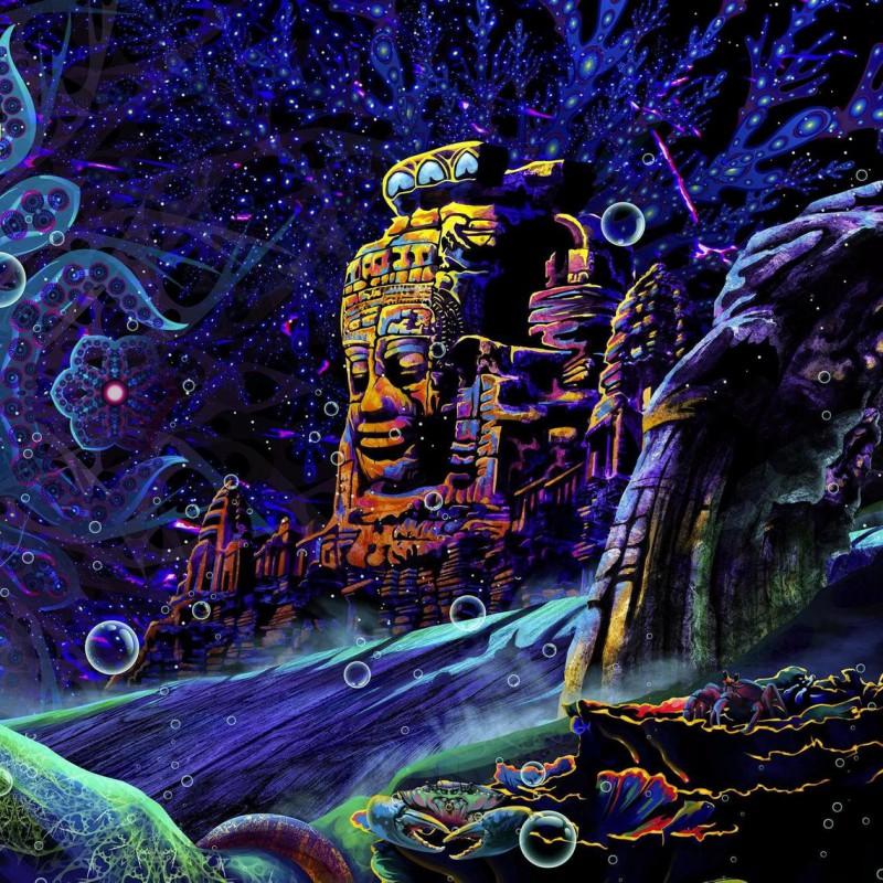 "wall blacklight artwork ""Golden Buddha"""