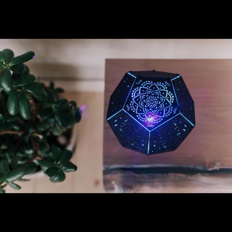 "Psychedelic Lamp of Sacred Geometry ""Mandala Black Power"" night light"