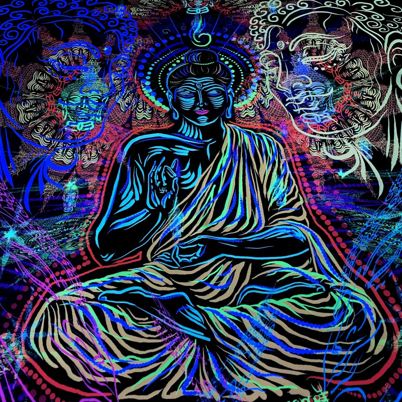 """Psychedelic fluorescent backdrop """"One Hundred Thousand Buddhas"""""""