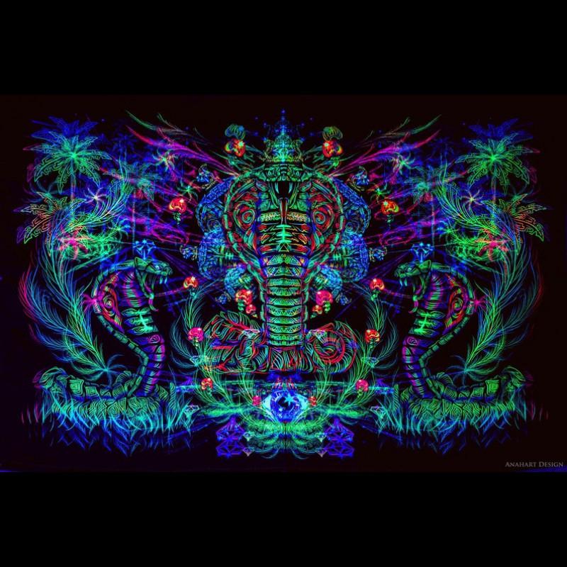 "Psychedelic trippy blacklight active tapestry ""Sacred Cobra"""