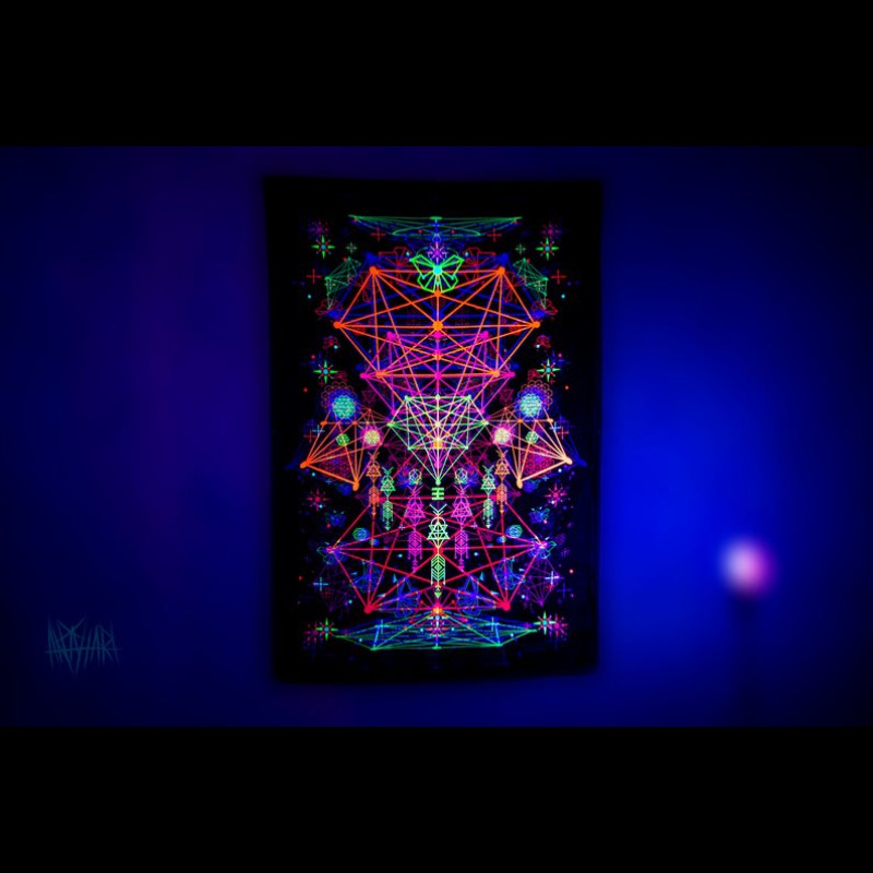 """UV active trippy psychedelic canvas """"Astral Geometry"""""""