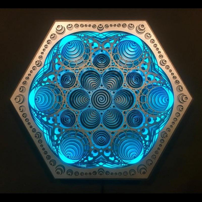 "Magical Spiritual Wall Light Wooden Bohemian Lamp ""Vibration"", 5 layers"