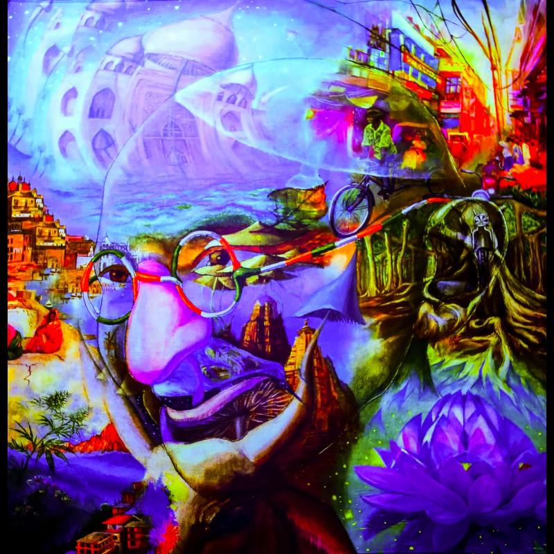 """glow in the dark fractal trippy décor """"Gandi"""""""