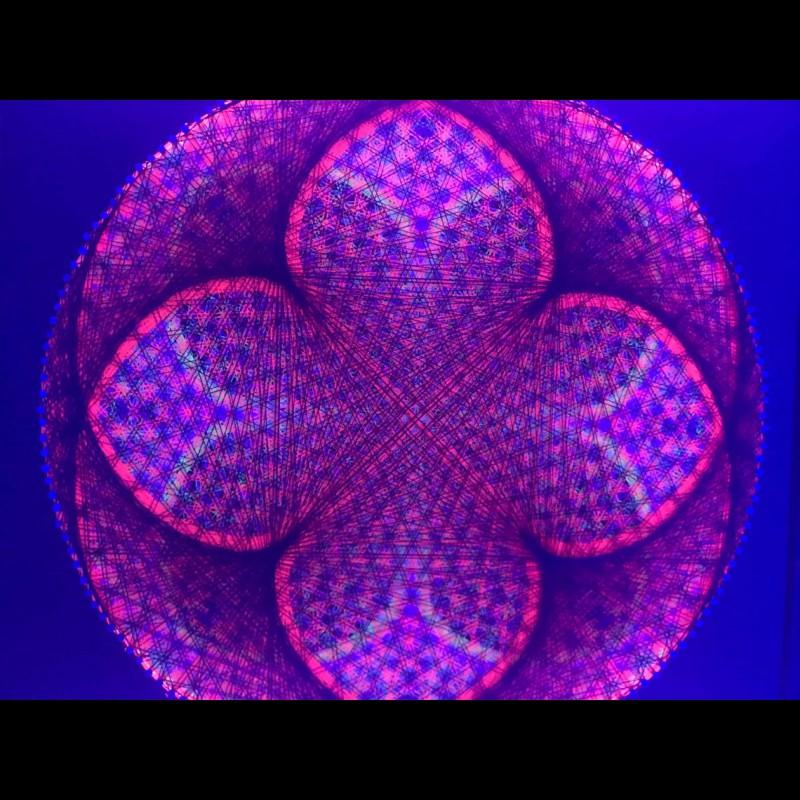 "String Art Trippy UV Wall Art  ""Dark X"""